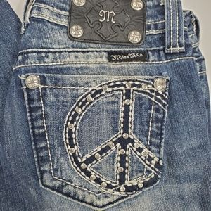 Miss Me Dark Wash Peace Sign Pockets